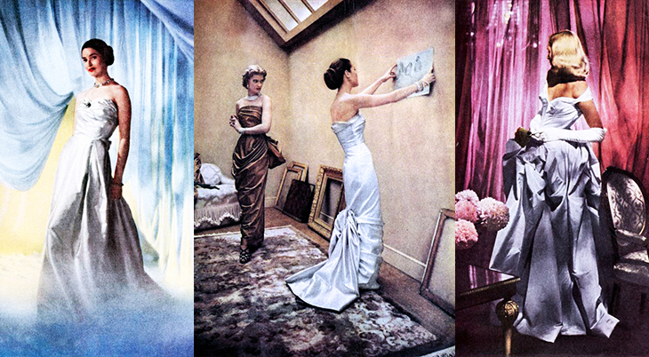 modess because ad, 1949, womens fashion, dresses, advertising, designer gowns, high fashion, supermodels, womens products, sanitary napkins, menstruation, feminine hygiene, johnson and johnson, suzy parker, dorian leigh, dovima, lisa fonssagrives