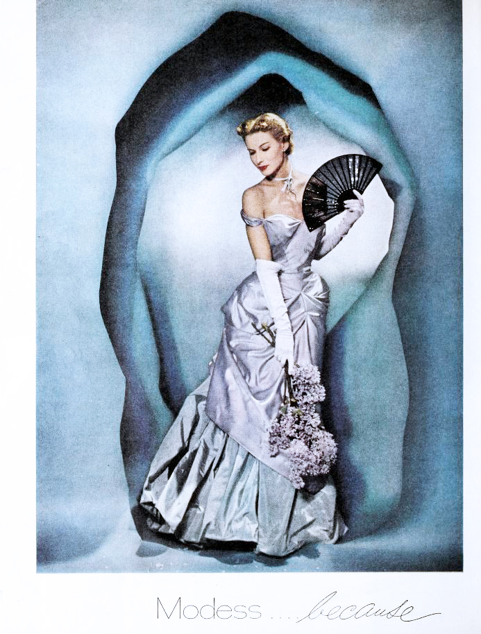 modess ads, 1949, womens fashion, hats, dresses, advertising, designer gowns, high fashion, charles james designer, lisa fonssagrives, early supermodel, womens products, sanitary napkins, menstruation, feminine hygiene, johnson and johnson,