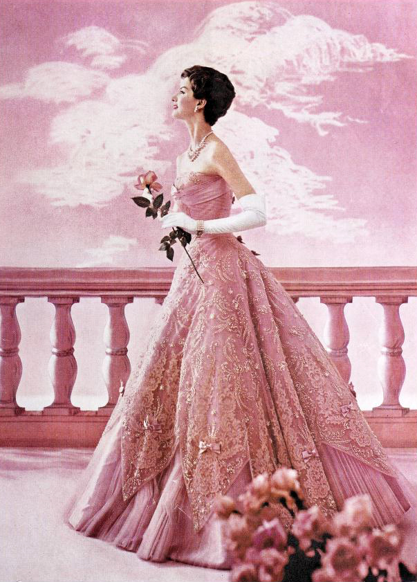 modess because ad, 1959, womens fashion, pink dresses, advertising, designer gowns, high fashion, supermodels, womens products, sanitary napkins, menstruation, feminine hygiene, johnson and johnson,