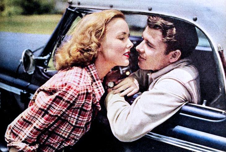 wanda hendrix, audie murphy, american actors, classic movies, westerns, sierra stars, 1949, celebrity couples, vintage car