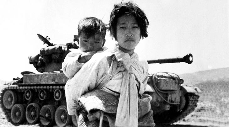korean war, 1950s world conflicts, korean civilians, children, army tank, haengju korea
