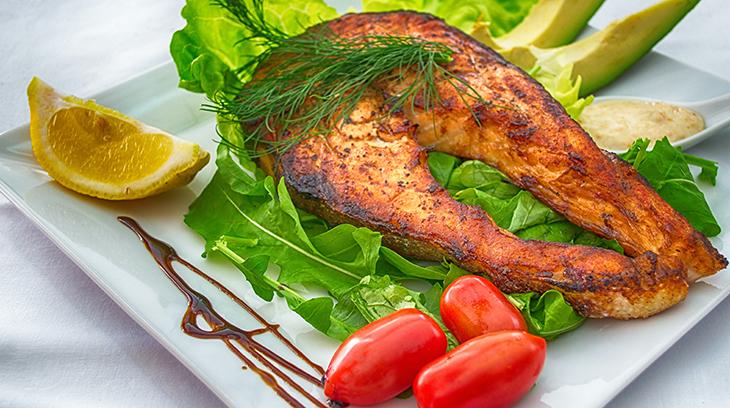 vitamin d, healthy foods, salmond, avocado, tomato, lemon, lettuce