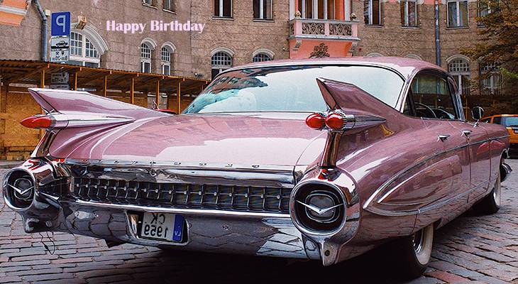 happy birthday wishes, birthday cards, birthday card pictures, famous birthdays, automobile, pink, car, vintage, old, coupe