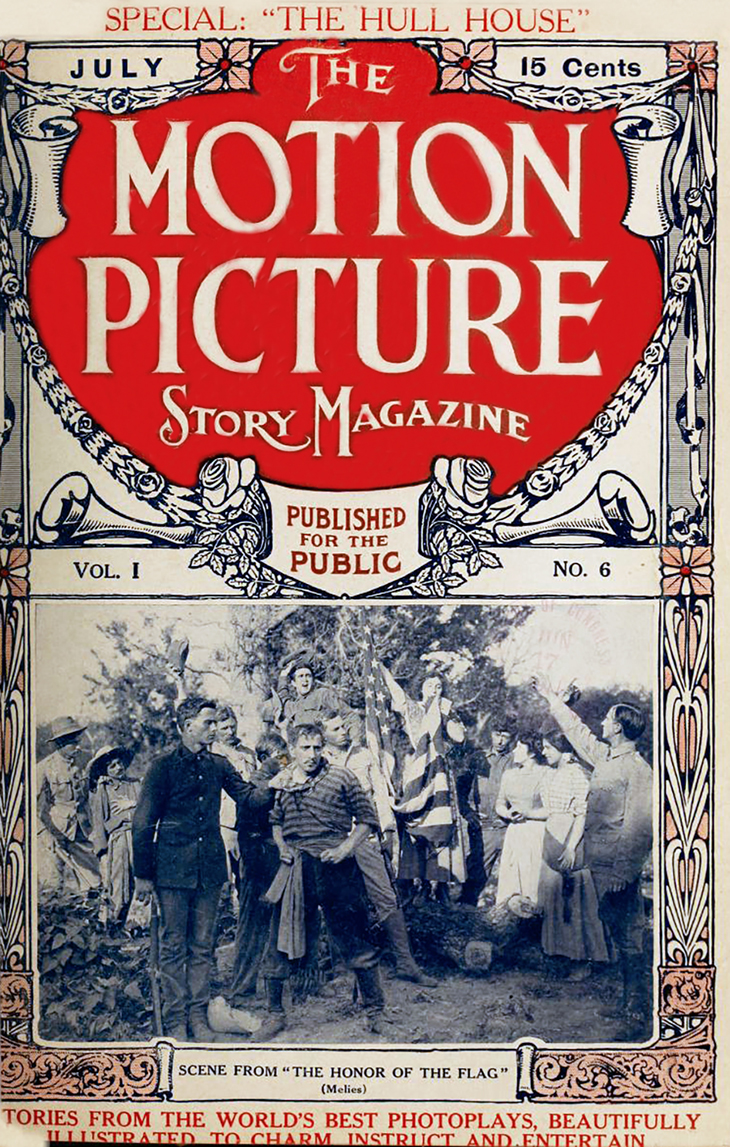 1911, july, the motion picture story magazine, cover, silent film magazine, movie fan magazines,the honor of the flag, gaston melies, star film company