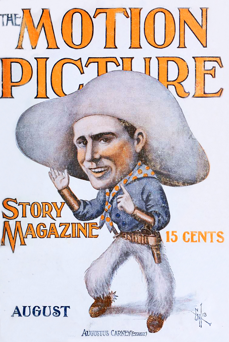 1913, august, the motion picture story magazine, cover, silent film magazine, movie fan magazines, movie star, august carney, essanay film studio