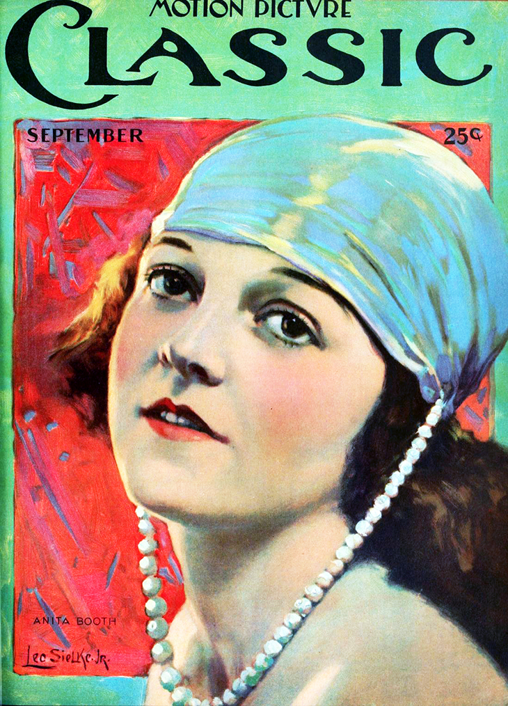 1920, september, motion picture classic, vintage magazine, cover, silent film magazine, movie fan magazines, artist, painted, leo sielke jr, silent movie stars, actress, anita booth