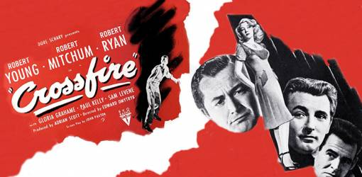 crossfire, 1947 movie, classic films, film noir, movie stars, actors, robert mitchum, robert young, robert ryan, paul kelly, director, edward dmytryk, producer, adrian scott, actress, gloria grahame, screenwriter, john paxton,