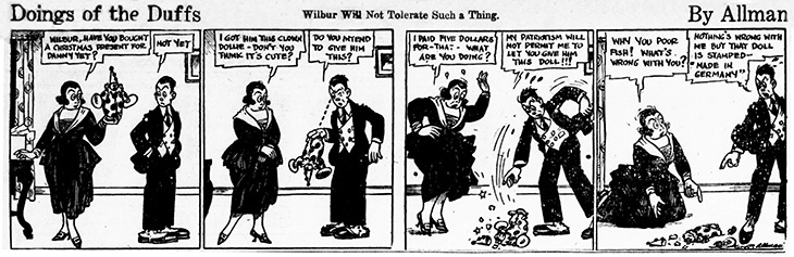 doings of the duffs, cartoons, comic strip, 1917, cartoonist, illustrator, artist, walter r allman