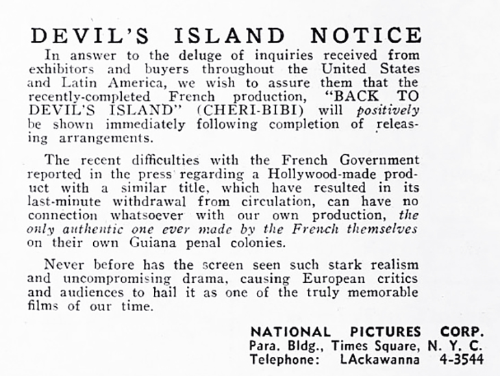 back to devils island, national pictures corporation, film documentary, french documentaries, 1939