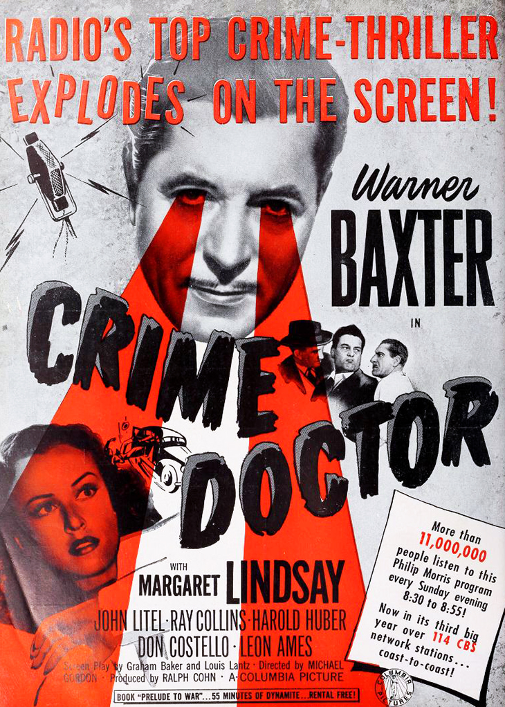 crime doctor, feature films, 1940s movies, screenwriter, max marcin, american actor, warner baxter, ray collins, margaret lindsay, john litel, leon ames,