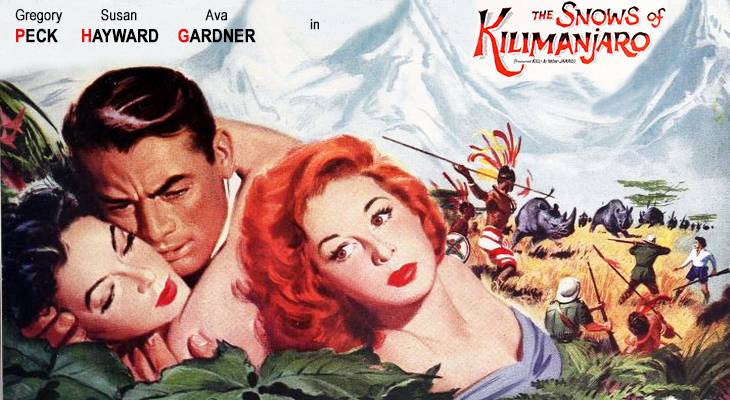 1952 movies, classic films, the snows of kilimanjaro, hemingway movies, film stars, actors, gregory peck, ava gardner, susan hayward, technicolor