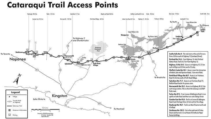 cataraqui trail, access points, map. bicycle, trail cycling, walk, hike, hiking, tour, eastern ontario, explore, adventure, nature, scenery