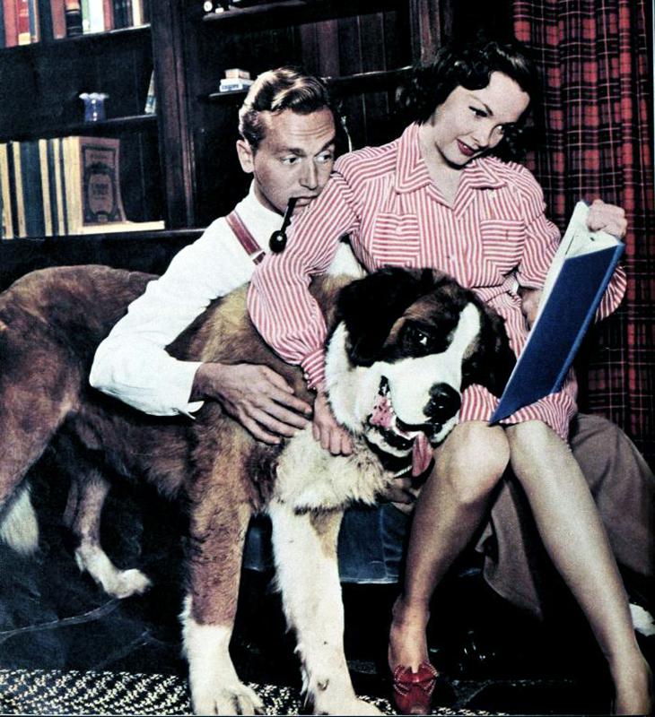 johnnie johnston, kathryn grayson, 1947, celebrity couple, movie stars, american actor, actress, singers, st bernard dog, throckmorton