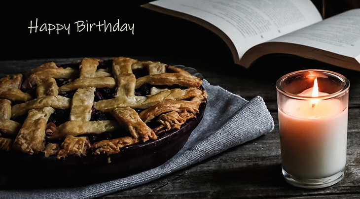 happy birthday wishes, birthday cards, birthday card pictures, famous birthdays, food, blueberry, pie, fruit, candle, treat