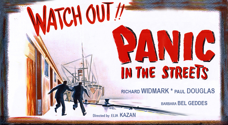 1950, classic movies, color poster, film noir, panic in the streets, crime dramas, thrillers, american actors, richard widmark, paul douglas, barbara bel geddes, director, elia kazan