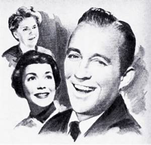just for you, 1952 movies, classic films, movie musicals, american actors, singers, crooners, bing crosby, film stars, actress, jane wyman, family films, ethel barrymore, illustration
