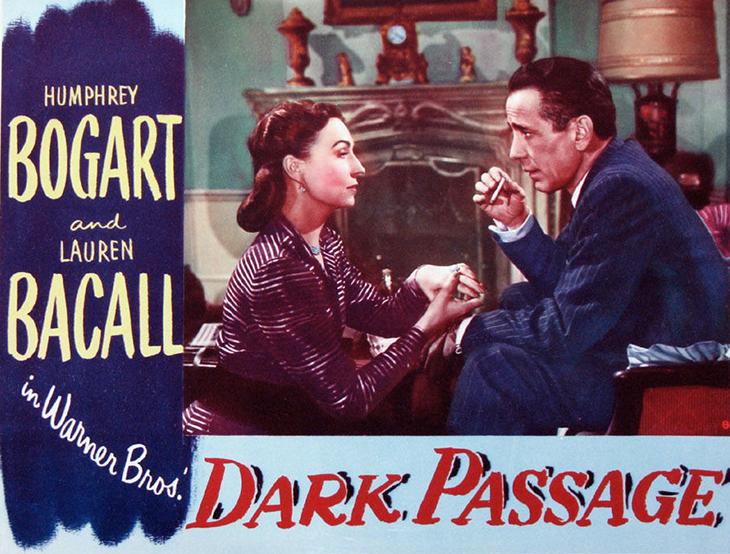 1947 movies, film noir, september, dark passage, american actors, humphrey bogart, agnes moorehead, classic film stars, color movie poster