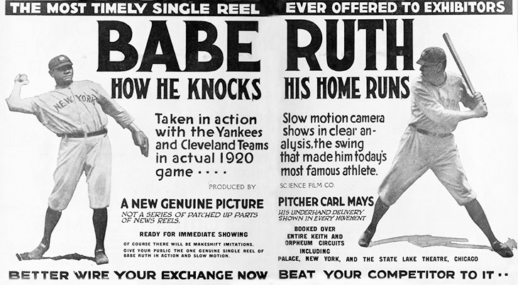 1920, silent films, documentary, movie shorts, babe ruth how he knocks his home runs, major league baseball, new york yankees, herman george babe ruth