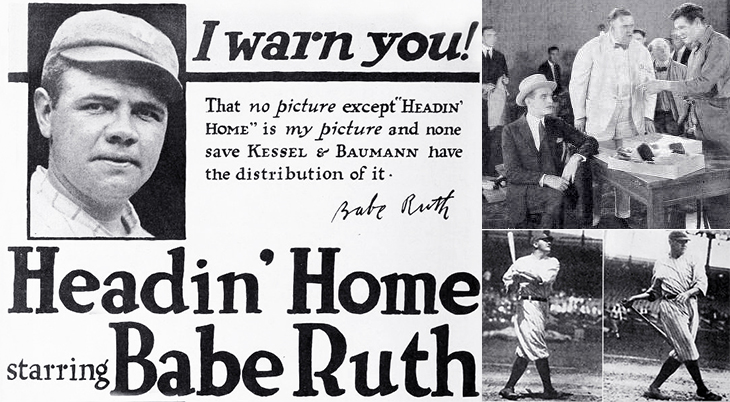 babe ruth, 1920, silent movie, biographical film, american baseball player, life story,