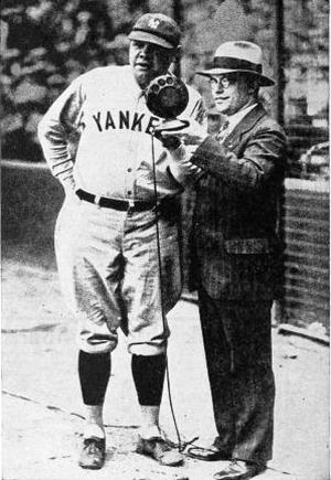 babe ruth, 1924, american baseball player, mlb, new york yankees, sports announcer, hal totten