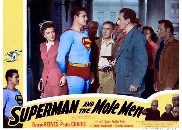 1951 movie, superman and the mole men, american actors, george reeves, clark kent, phyllis coates, lois lane, jeff corey, dc comics films