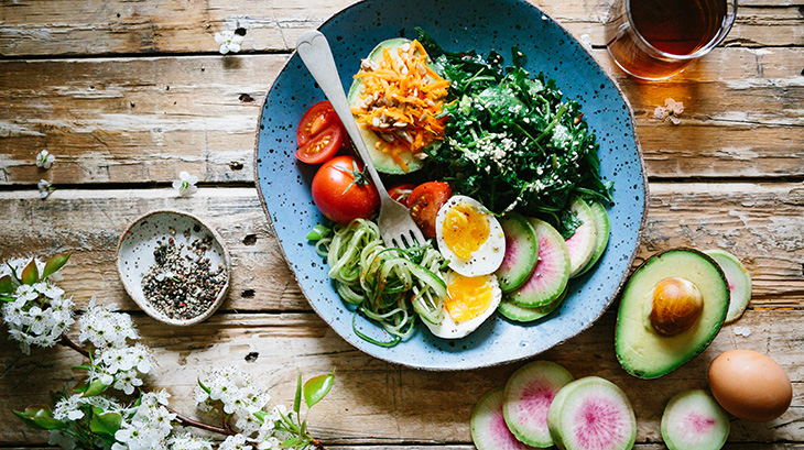 good eating habits, healthy food, salad, tomatoes, avocado, egg, nutrition, diet