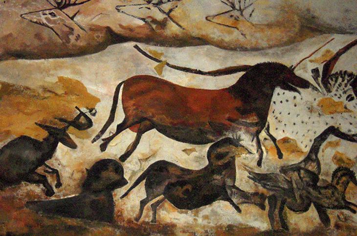 lascaux caves, montignac, france, prehistoric art, cave paintings, primitive art, aurochs, horses, deer, bulls, magdalenian, paleolithic, stone age, neolithic, archaeological site, unesco world heritage site,