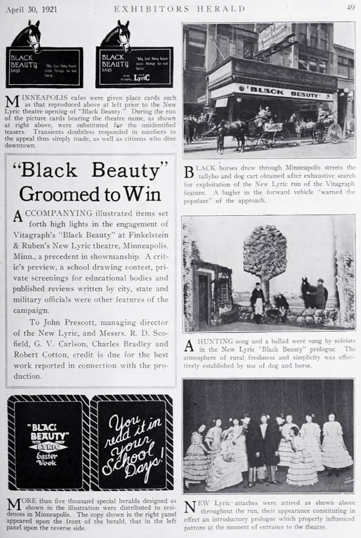 jack prescott, 1921, american actor, silent movie director, theatre manager, exploitation campaign, silent films, black beauty, new lyric theatre, minneapolis