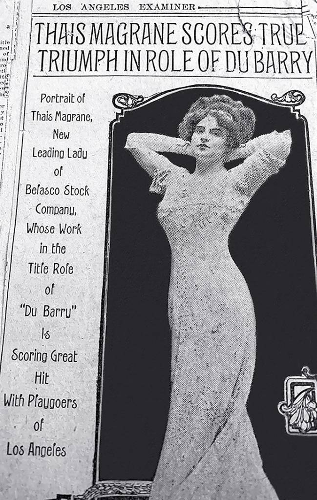 thais magrane, american actress, 1909, belasco company, los angeles, theatre, fashion, dresses, designer gowns, style, plays, du barry