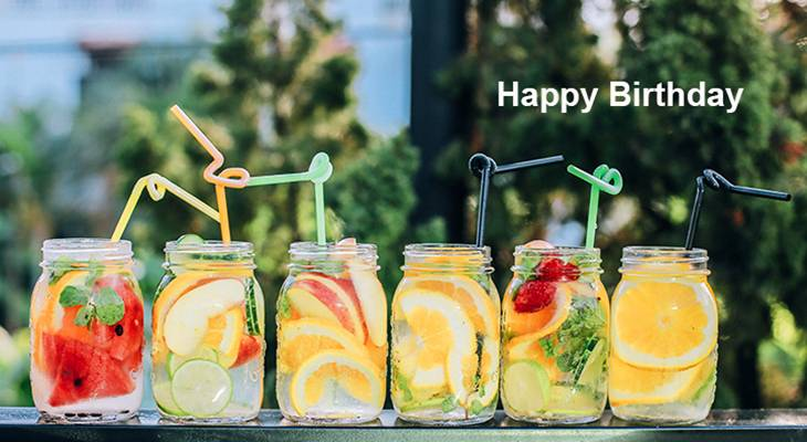 happy birthday wishes, birthday cards, birthday card pictures, famous birthdays, fruity, drinks, cocktails, summer, lemons, watermelon, straws, mason jars