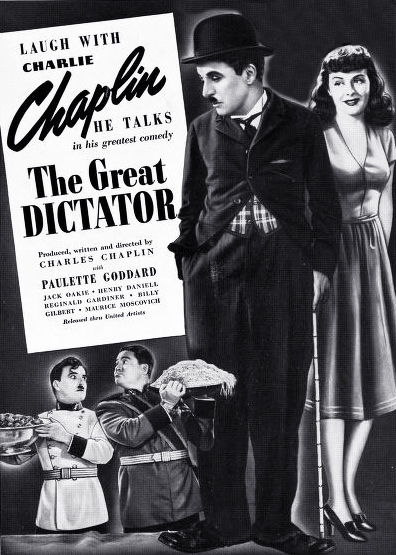 1940 october, classic movies, 1940s comedies, charlie chaplin films, the great dictator, actors, movie stars, charles chaplin, director, producer, screenwriter, paulette goddard,, jack oakie
