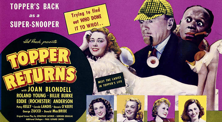 topper returns, 1941 movie, classic films, ghost story, funny movies, comedy, actors, films stars, joan blondell, roland young, billie burke, dennis okeefe, patsy kelly, hb warner, george zucco, eddie rochester anderson
