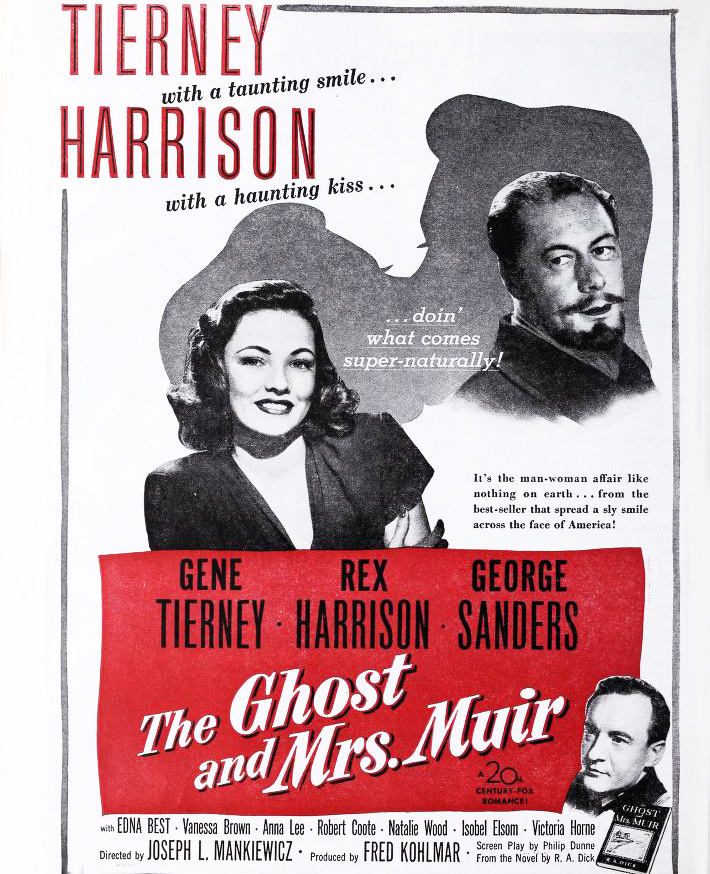the ghost and mrs muir, 1947, classic movies, vintage films, ghost stories, actors, film stars, rex harrison, gene tierney, scary movies, funny films