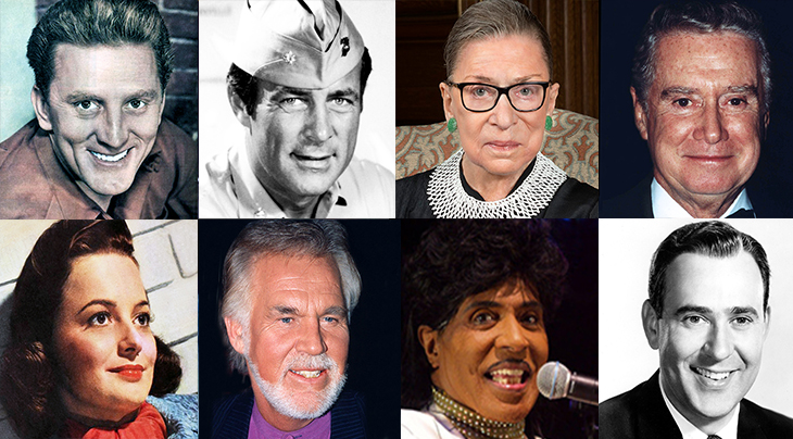 2020 celebrity deaths, famous died 2020, celebrities who died 2020, famous people deaths 2020, robert conrad, kirk douglas, olivia de havilland, regis philbin, ruth bader ginsburg, kenny rogers, little richard, carl reiner, deaths in 2020