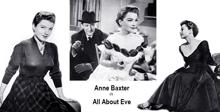 all about eve, 1950 movies, classic films, actors, movie stars, anne baxter, academy award nominations, best actress, fashion