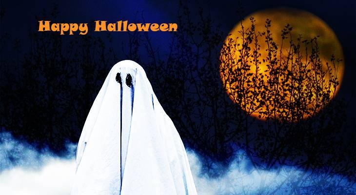 happy halloween, ghost, scary, spooky, spirit, orange moon, blood moon,