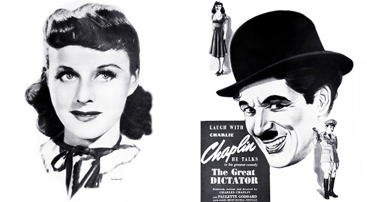 1940 october, classic movies, 1940s comedies, charlie chaplin films, the great dictator, actors, movie stars, charles chaplin, director, producer, screenwriter, paulette goddard,