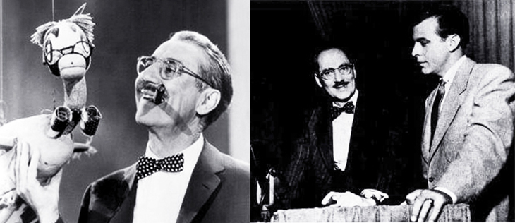 you bet your life, classic tv, television series, quiz shows, 1950s tv shows, groucho marx, american actor, secret word, duck, announcer, george fenneman, 1958