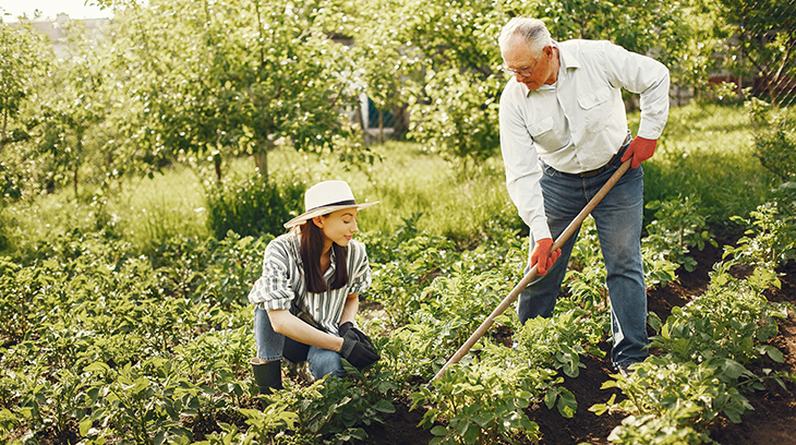 gardening, family, older man, seniors,