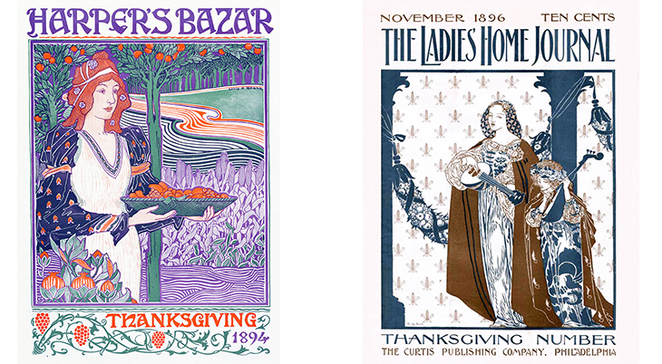thanksgiving, november, holidays, vintage, magazines, covers, artists, illustrators, louis rhead, harpers bazar, r a bell, ladies home journal