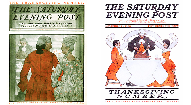 thanksgiving, november, holidays, vintage, magazines, covers, artists, illustrators, guernsey moore, the saturday evening post, 1901, 1903, 1700s fashion