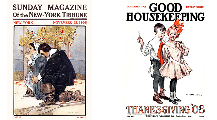 thanksgiving, november, holidays, vintage, magazines, covers, artists, illustrators, herbert paus, cushman parker, sunday magazine herald, good housekeeping, 1906, 1908