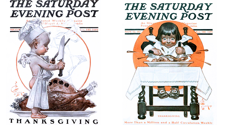 thanksgiving, november, holidays, vintage, magazines, covers, artists, illustrators, j c leyendecker, the saturday evening post, 1909, 1910