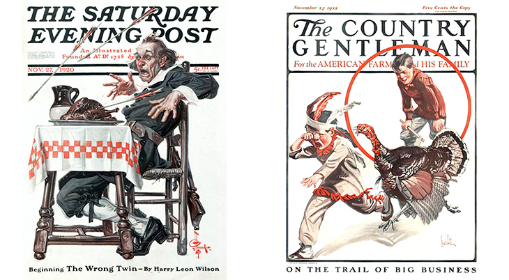 thanksgiving, november, holidays, vintage, magazines, covers, artists, illustrators, j c leyendecker, the saturday evening post, 1920, frederic lowenheim, f lowenheim, 1922, the country gentleman
