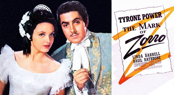 the mark of zorro, 1940, classic movie, film stars, american actor, tyrone power, actress, linda darnell,
