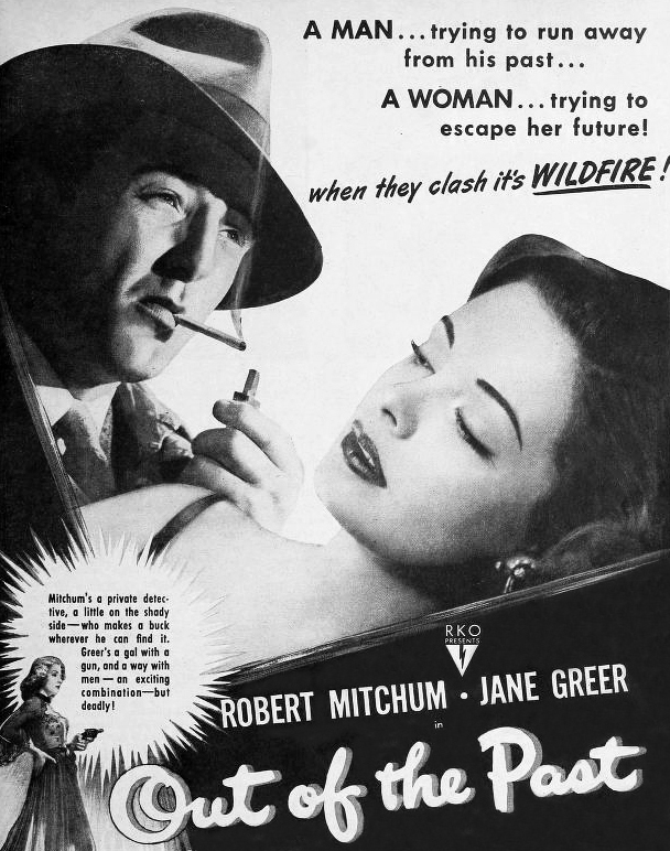 1947 movies, classic films, out of the past, film noir, movie stars, actor, robert mitchum, actress, jane greer, rhonda fleming, director, jacques tourneur, movie poster