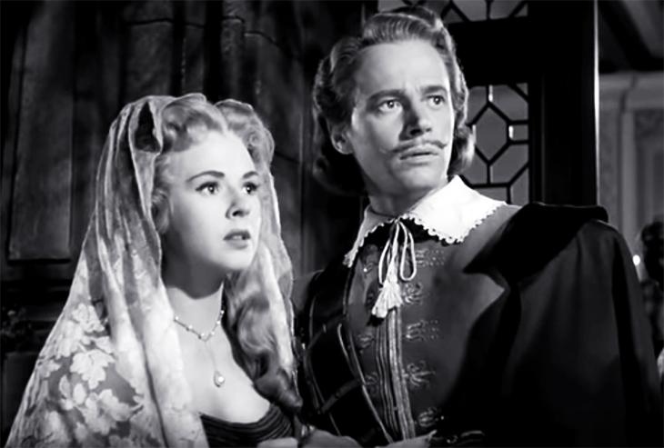 1950 movies, cyrano de bergerac, american actors, william prince, christian de neuvillette, actresses, mala powers, roxane, historical films, adventure movies, tragedy, romance