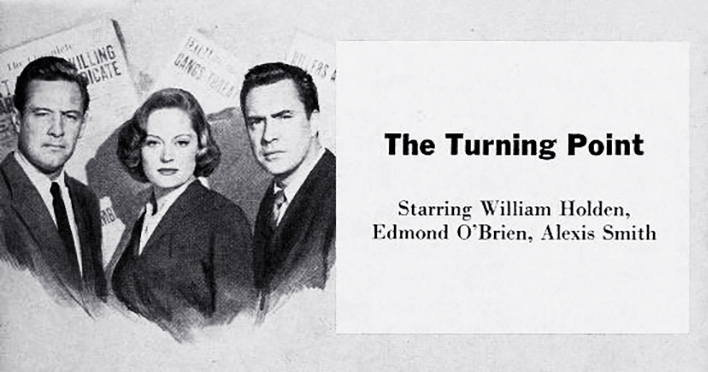 1952 movie, the turning point, classic movies, film noir, movie stars, actress, alexis smith, actor, william holden, edmond obrien