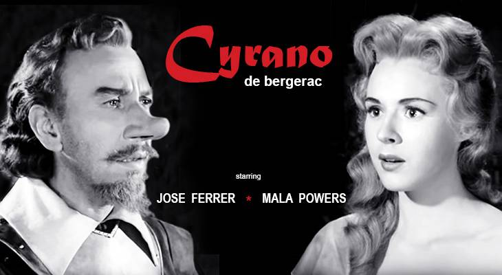 1950 movies, cyrano de bergerac, american actors, jose ferrer, actress, mala powers, academy awards, best actor, oscar, historical films, sword fights, adventure movies, romantic dramas, tragedy