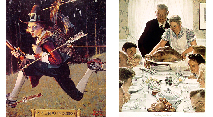thanksgiving, november, holidays, vintage, magazines, covers, artists, illustrators, norman rockwell, the saturday evening post, life magazine, 1921, 1943, freedom from want